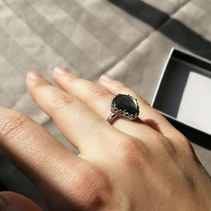Jewelry - Black gem wrapped in sterling silver ring